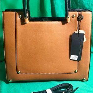 Lionel Becca Vegan Leather Cognac Handbag - NWT